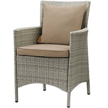 Conduit Outdoor Patio Wicker Rattan Dining Armchair, Rattan Wicker, Brown Light Gray 15170