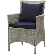 Conduit Outdoor Patio Wicker Rattan Dining Armchair, Rattan Wicker, Navy Blue Light Gray 15171