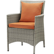 Conduit Outdoor Patio Wicker Rattan Dining Armchair, Rattan Wicker, Orange Light Gray 15172