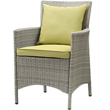 Conduit Outdoor Patio Wicker Rattan Dining Armchair, Rattan Wicker, Green Light Gray 15173
