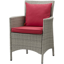 Conduit Outdoor Patio Wicker Rattan Dining Armchair, Rattan Wicker, Red Light Gray 15174