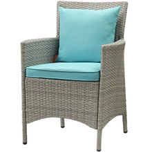 Conduit Outdoor Patio Wicker Rattan Dining Armchair, Rattan Wicker, Blue Light Gray 15175