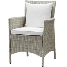 Conduit Outdoor Patio Wicker Rattan Dining Armchair, Rattan Wicker, White Light Gray 15176