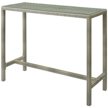 Conduit Outdoor Patio Wicker Rattan Large Bar Table, Rattan Wicker Glass, Light Grey Gray 15178