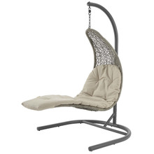 Landscape Hanging Chaise Lounge Outdoor Patio Swing Chair, Rattan Wicker, Light Gray Beige 15183