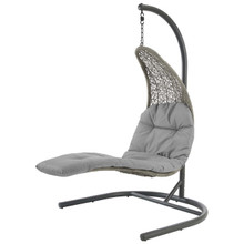Landscape Hanging Chaise Lounge Outdoor Patio Swing Chair, Rattan Wicker, Grey Gray 15184