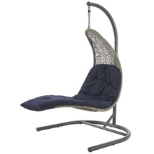 Landscape Hanging Chaise Lounge Outdoor Patio Swing Chair, Rattan Wicker, Navy Blue Light Gray 15185