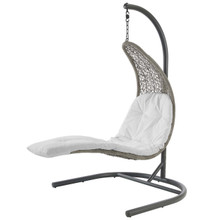 Landscape Hanging Chaise Lounge Outdoor Patio Swing Chair, Rattan Wicker, White Light Gray 15188