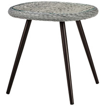 Endeavor Outdoor Patio Wicker Rattan Side Table, Rattan Wicker Glass Aluminum Metal, Grey Gray 15191