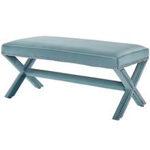 Rivet Upholstered Velvet Bench, Velvet Fabric Copper Nail Rivet, Blue 15196