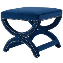Expound Upholstered Nailhead Trim Velvet Ottoman, Velvet Fabric Copper Nail Rivet, Navy Blue 15199