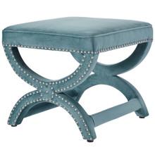 Expound Upholstered Nailhead Trim Velvet Ottoman, Velvet Fabric Copper Nail Rivet, Blue 15200