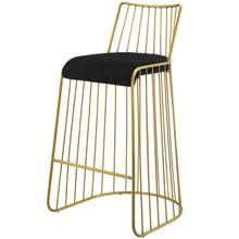 Rivulet Gold Stainless Steel Upholstered Velvet Bar Stool, Velvet Fabric Metal Steel, Gold Black 15201