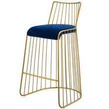 Rivulet Gold Stainless Steel Upholstered Velvet Bar Stool, Velvet Fabric Metal Steel, Gold Navy 15202