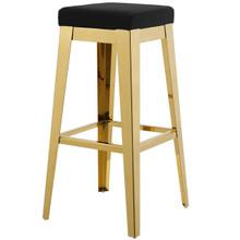Arrive Gold Stainless Steel Upholstered Velvet Bar Stool, Velvet Fabric Metal Steel, Gold Black 15234