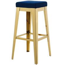 Arrive Gold Stainless Steel Upholstered Velvet Bar Stool, Velvet Fabric Metal Steel, Gold Navy 15235