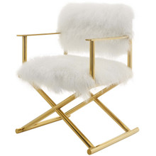 Action Pure White Cashmere Accent Director's Chair, Metal Fabric, Gold White 15236