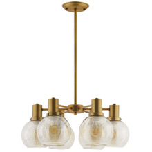 Resound Amber Glass And Brass Pendant Chandelier, Metal Steel, Gold 15237