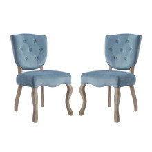 Array Dining Side Chair Set of 2, Velvet Fabric Wood, Blue 15252