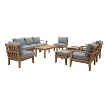 Marina 10 Piece Outdoor Patio Teak Set, Wood, Grey Gray Natural 15268