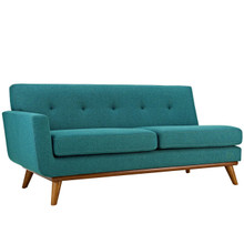 Engage Left-Arm Loveseat, Fabric, Aqua Blue 15270