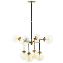 Ambition Amber Glass And Antique Brass 8 Light Pendant Chandelier, Metal Steel, Gold 15274