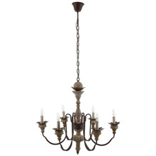 Bountiful Vintage French Pendant Ceiling Light Candelabra Chandelier, Metal Steel Wood, Natural Brown 15276