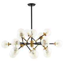 Sparkle Amber Glass And Antique Brass 18 Light Mid-Century Pendant Chandelier, Metal Steel, Gold 15277