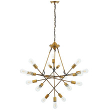 Request Antique Brass 18 Light Mid-Century Pendant Chandelier, Metal Steel, Gold 15278