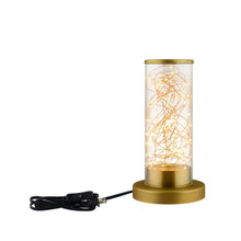 Adore Cylindrical-Shaped Clear Glass And Brass Table Lamp, Metal Steel, Gold 15287