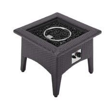 Vivacity Outdoor Patio Fire Pit Table, Rattan Wicker, Dark Grey Gray 15288