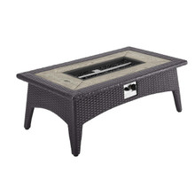 "Splender 43.5"" Rectangle Outdoor Patio Fire Pit Table, Rattan Wicker, Dark Grey Gray 15289"