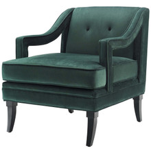 Concur Button Tufted Upholstered Velvet Armchair, Velvet Fabric, Green 15293