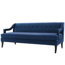 Concur Button Tufted Upholstered Velvet Sofa, Velvet Fabric, Navy Blue 15302