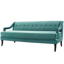 Concur Button Tufted Upholstered Velvet Sofa, Velvet Fabric, Aqua Blue 15303