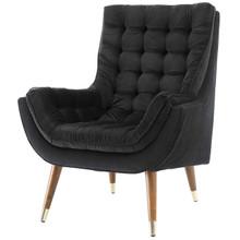 Suggest Button Tufted Upholstered Velvet Lounge Chair, Velvet Fabric, Black 15304