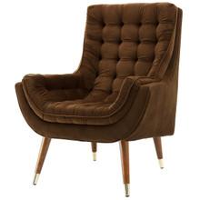 Suggest Button Tufted Upholstered Velvet Lounge Chair, Velvet Fabric, Brown 15305