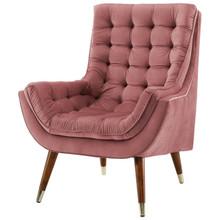 Suggest Button Tufted Upholstered Velvet Lounge Chair, Velvet Fabric, Rose Red 15306