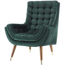 Suggest Button Tufted Upholstered Velvet Lounge Chair, Velvet Fabric, Green 15307