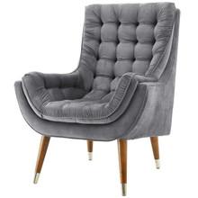 Suggest Button Tufted Upholstered Velvet Lounge Chair, Velvet Fabric, Grey Gray 15308