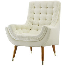 Suggest Button Tufted Upholstered Velvet Lounge Chair, Velvet Fabric, Ivory White 15309