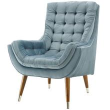 Suggest Button Tufted Upholstered Velvet Lounge Chair, Velvet Fabric, Light Blue 15310