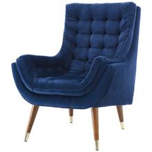 Suggest Button Tufted Upholstered Velvet Lounge Chair, Velvet Fabric, Navy Blue 15311