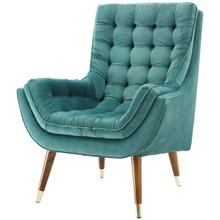 Suggest Button Tufted Upholstered Velvet Lounge Chair, Velvet Fabric, Aqua Blue 15312