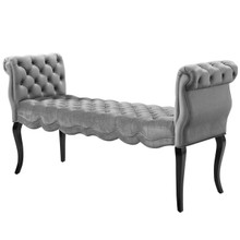 Adelia Chesterfield Style Button Tufted Performance Velvet Bench, Velvet Fabric, Light Grey Gray 15314