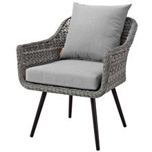 Endeavor Outdoor Patio Wicker Rattan Armchair, Rattan Wicker Aluminum Metal, Grey Gray 15318