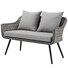 Endeavor Outdoor Patio Wicker Rattan Loveseat, Rattan Wicker Aluminum Metal, Grey Gray 15319