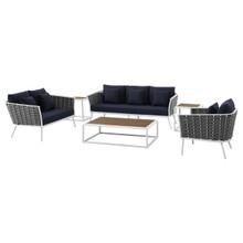 Stance 6 Piece Outdoor Patio Aluminum Sectional Sofa Set, Fabric Aluminium, White Navy 15323