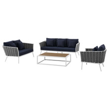 Stance 4 Piece Outdoor Patio Aluminum Sectional Sofa Set, Fabric Aluminium, White Navy 15327