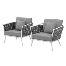 Stance Armchair Outdoor Patio Aluminum Set of 2, Fabric Aluminium, White Grey Gray 15328